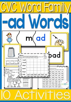 -ad Word Family CVC Games/Centers and Worksheets US/UK Versions