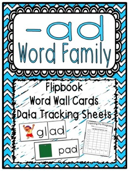 -ad Word Family Flipbook, Word Wall Cards and Data Trackin