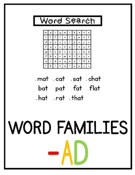 -ad Word Family Pack NO PREP