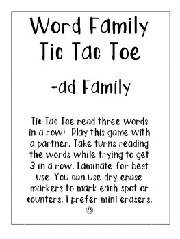 -ad Word Family Tic Tac Toe