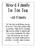 -ad Word Family Tic Tac Toe