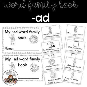 -ad word family minibook:cut and paste, word work