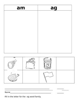 -ag Word Family Activities/Literacy Station Ideas