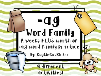 -ag Word Family: CVC: A weeks PLUS worth of -ag family activities/practice
