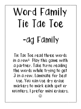 -ag Word Family Tic Tac Toe