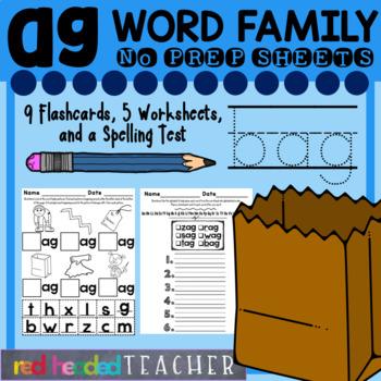 -ag Word Family Worksheets