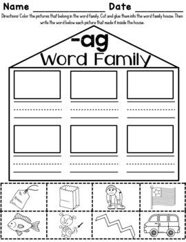ag Word Family Worksheets by Red Headed Teacher   TpT