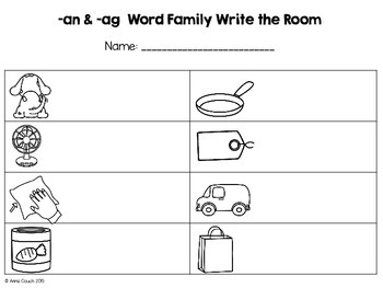 -ag & -an Word Family Write the Room