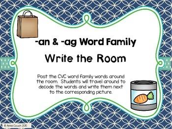 -ag & -an Word Family Write the Room
