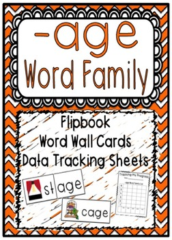-age Word Family Flipbook, Word Wall Cards and Data Tracking Sheets!