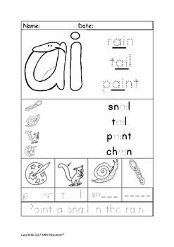 'ai' Long A Worksheet Phonics