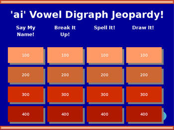 'ai' Vowel Digraph Jeopardy!