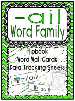 -ail Word Family Flipbook, Word Wall Cards and Data Tracki