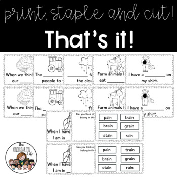 -ain word family minibook: cut and paste, word work