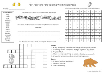 'air', 'are' & 'ear' Spelling Puzzle Page