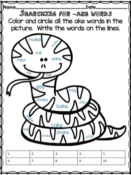 -ake Word Family Activities - No Prep! Word Work!