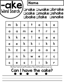 Ake word family worksheets by red headed teacher tpt ake word family worksheets ibookread Download