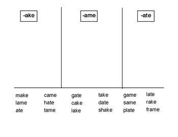 -ake, -ate, and -ame word sort
