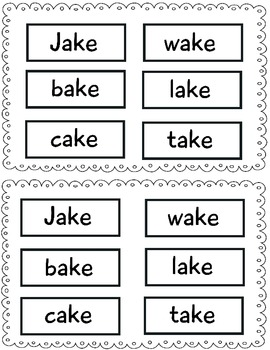 -ake word family minibook: cut and paste, word work