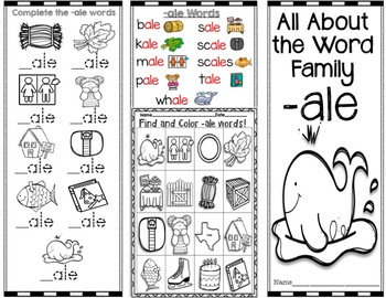 -ale Word Family Brochure -Pamphlet - Word Work! Easy to Fold! Easy to Use!