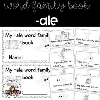 -ale word family minibook: cut and paste, word work