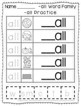 -all Word Family Anchor Chart & Practice {Click File, Print}