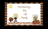 -all  Word Family Chunk Lesson-Smart Board –11 slides-Interactive-Grades PreK-3