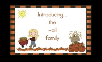 -all  Word Family Chunk Lesson-Smart Board –11 slides-Interactive-Grades PreK-3