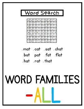 -all Word Family Pack NO PREP