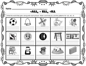 -all, -ell, -ill Word Families Practice Worksheet