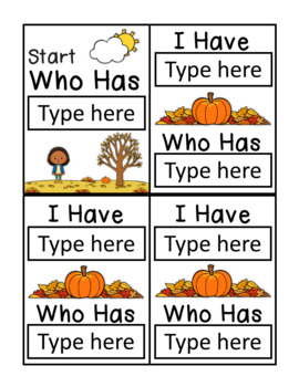I Have Who Has Template - Fall/Autumn Theme