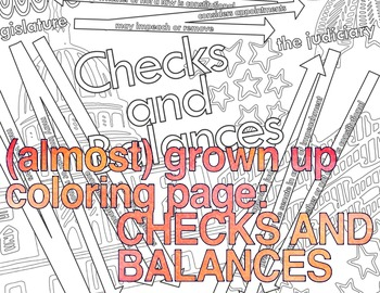 (almost) grown up coloring page: Checks and Balances (US Government)