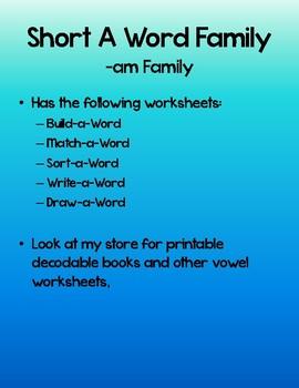-am Family Worksheet set