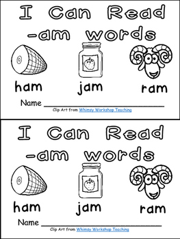 -am Word Family Emergent Reader Kindergarten with Pocket Chart Cards & More