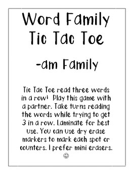 -am Word Family Tic Tac Toe