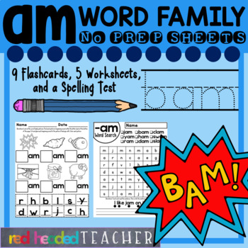 Am word family printable worksheets