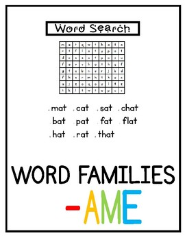 -ame Word Family Pack NO PREP