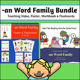 -an Word Family Bundle - Teaching Video, Poster, Workbook & Flashcards