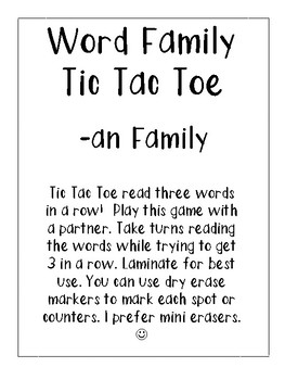 -an Word Family Tic Tac Toe