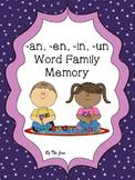 -an-, en-, in, -un Word Families Memory K-2 (***BONUS*** Bingo)
