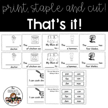 -an word family minibook: cut and paste, word work