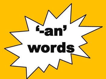 -an words flash cards with actitivity