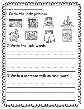 'ank' Word Family CVCC Word Work