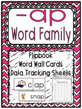 -ap, at, ay Word Family Flipbooks, Word Wall Cards and Data Tracking Sheets!
