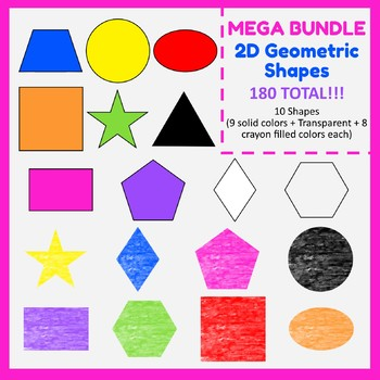 2D Geometric shapes (180). Color and crayon filled. Mega Bundle. #AugTpTClipLove