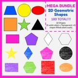 2D Geometric shapes (180). Color and crayon filled. Mega Bundle. #AugTpTClipLove