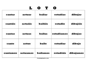 -ar Present Tense BINGO; 30 different cards