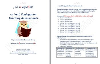 -ar Verb Conjugation Teaching Assessments