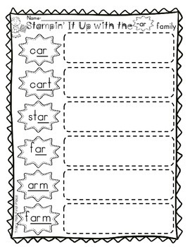 -ar  Word Family  Spelling and Word Work Printables