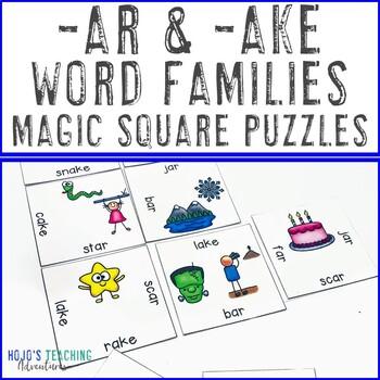 Word Families -ar & -ake Literacy Center Game